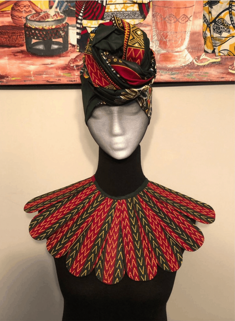 TheclaCreations   African Print Scarf and Breastplate Necklace