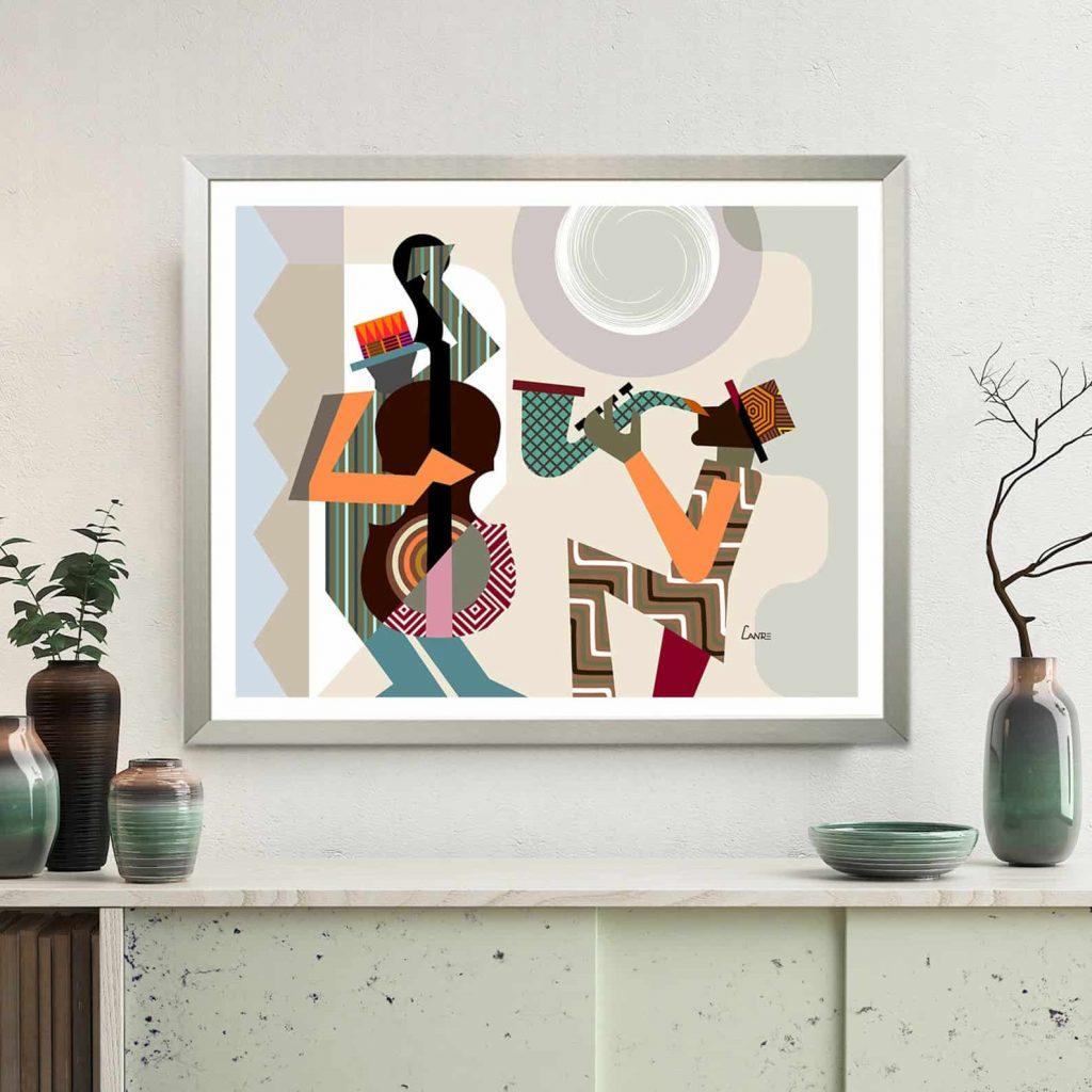 Jazz Festival Orleans Music Poster, Saxophone Violin Wall Art   LanreStudio