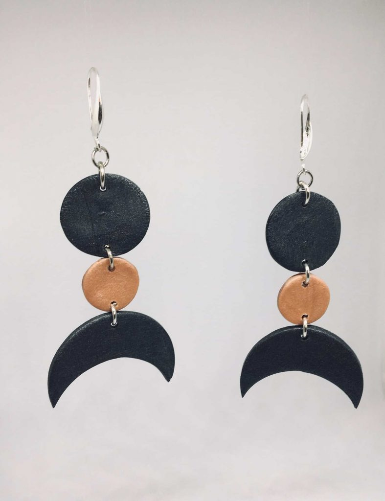 KhokhoDesigns Clay Gold and Black hanging earrings   Black Etsy