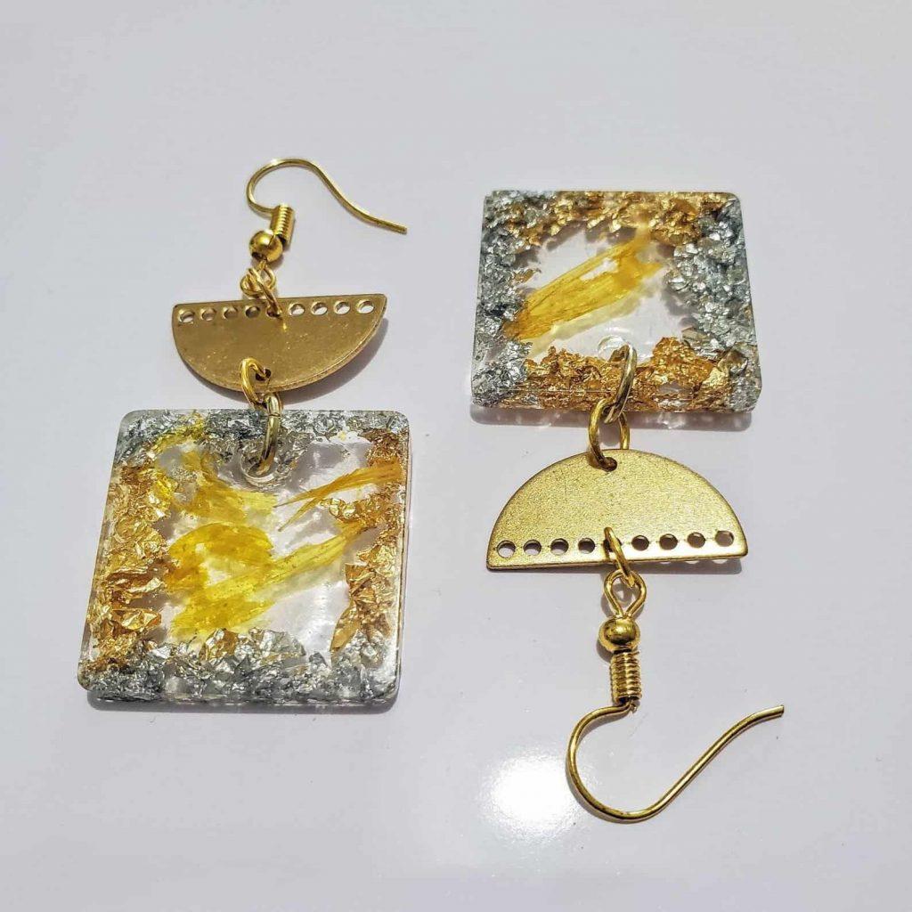 BounceBackJewelry   JOY: Square Resin Dangle Earrings   Black Owned Etsy Shop Canada