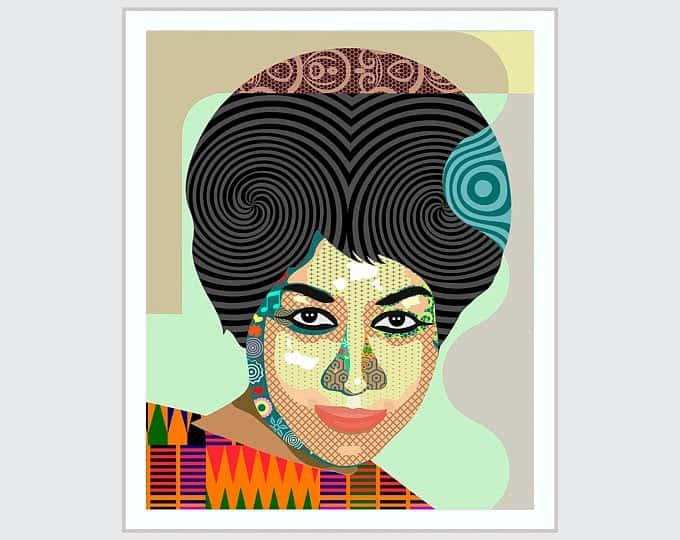 , Aretha Franklin Art, Queen Of Soul Celebrity Poster   LanreStudio   Black Artist