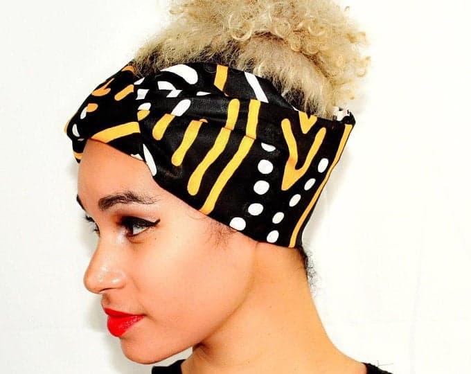 NasikaWax   Black, white yellow fabric Headwrap