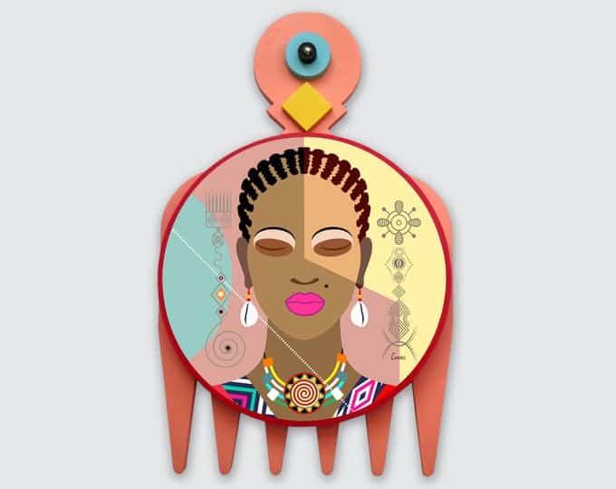 Black Woman Painting, African Girl Art Natural Hair Adinkra DUAFE   Lanre Studio   Black Canadian Pop Artist