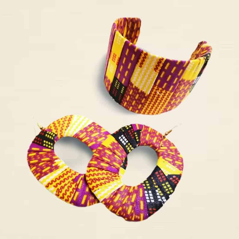 African fabric bangle/african earring   Canadian Etsy Seller