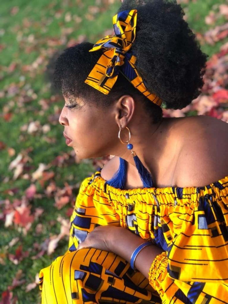 African Dress Short neckline with puffed sleeves   TheclaCreations