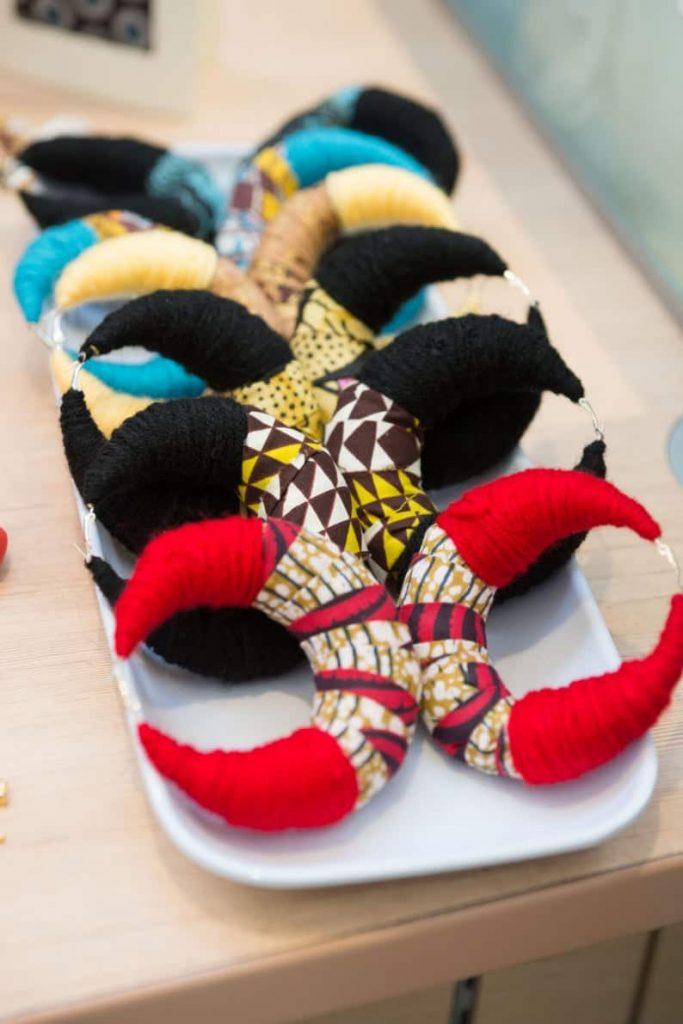 KhokhoDesigns African Inspired Cloth Earrings   Black Canadian Etsy Seller