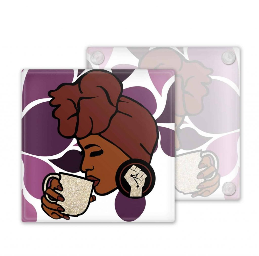 M&K Creative Designs Black Owned Canadian Etsy Shop   Afrocentric Products Black Woman Wearing Headwrap Coasters