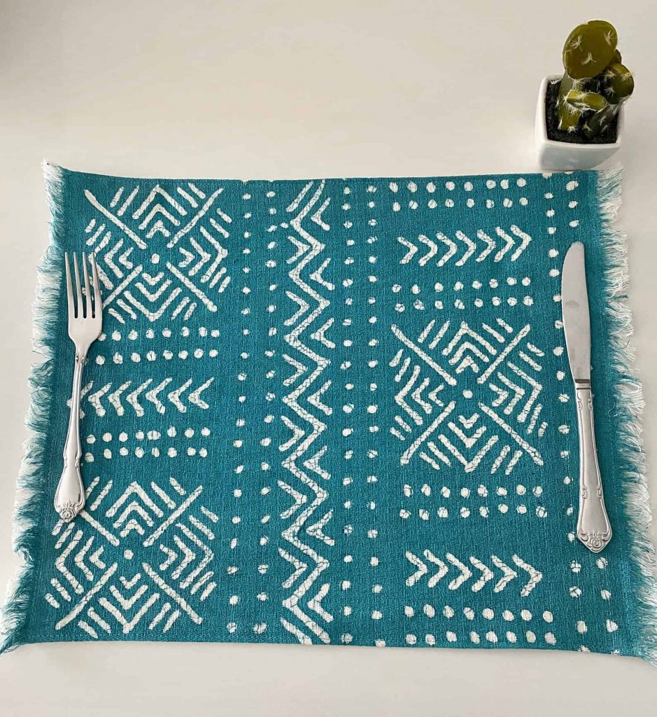 BatiquaGifts Buy Black   Canadian Etsy Shop African FairTrade Textiles   Blue Patterned PlaceMat