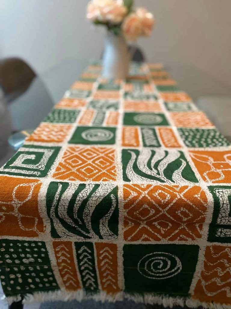 BatiquaGifts Buy Black   Canadian Etsy Shop African FairTrade Textiles   Patterned Table Runner