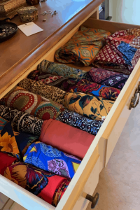Head Wrap Collection organized in a drawer. Black Blogger | Comfy Girl With Curls | @Comfygirlcurls