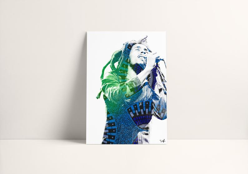 Frequency of Love   Black-owned Etsy Gift Bob Marley Print