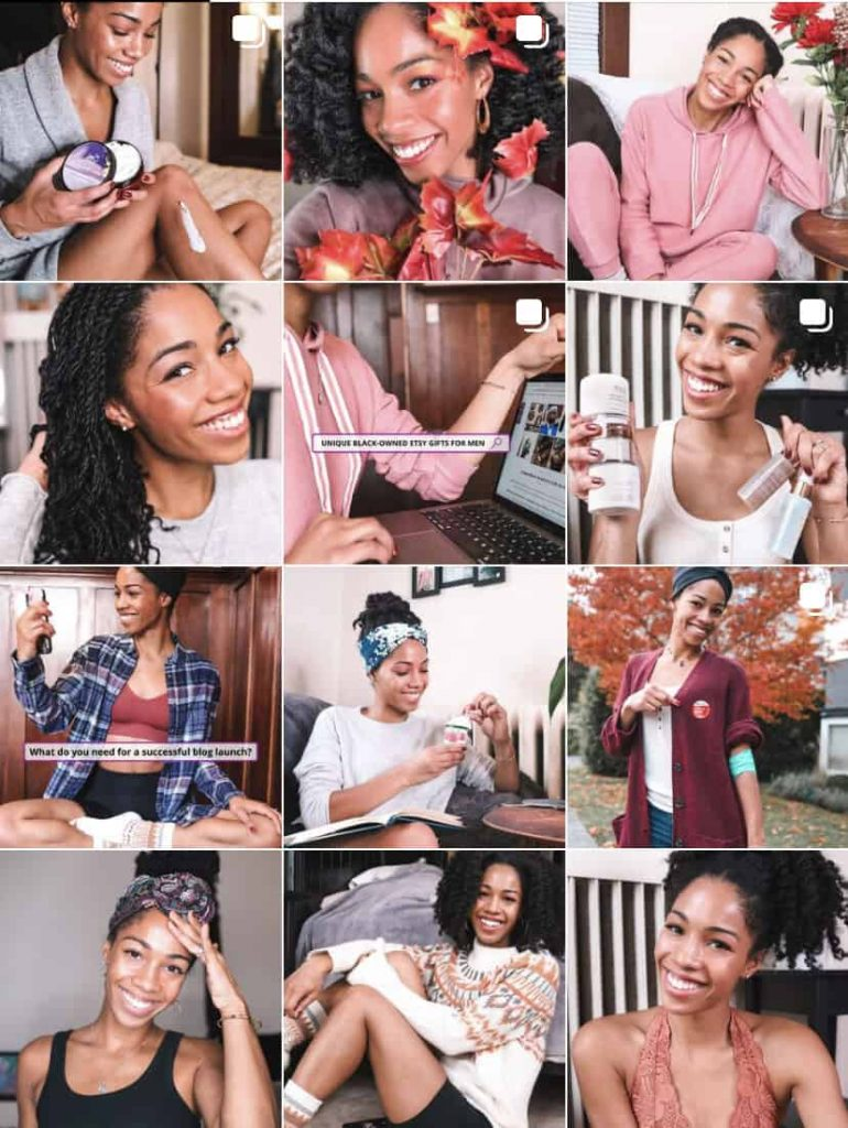 My Instagram feed after adding a preset to help attract band deals | Comfygirlcurls