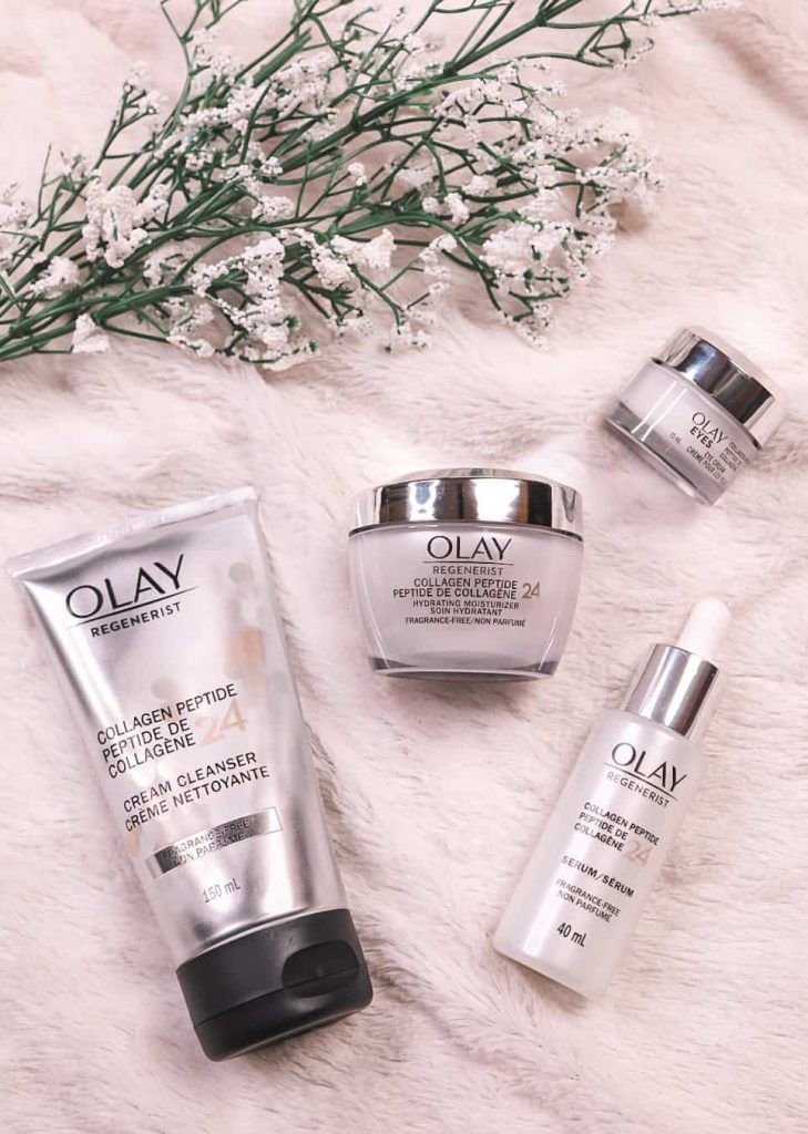 Olay Collagen Peptide24 Collection: Cream Cleanser, Hydrating moisturizer/firming cream, and the serum and eye cream. Complete Skin Care Routine.