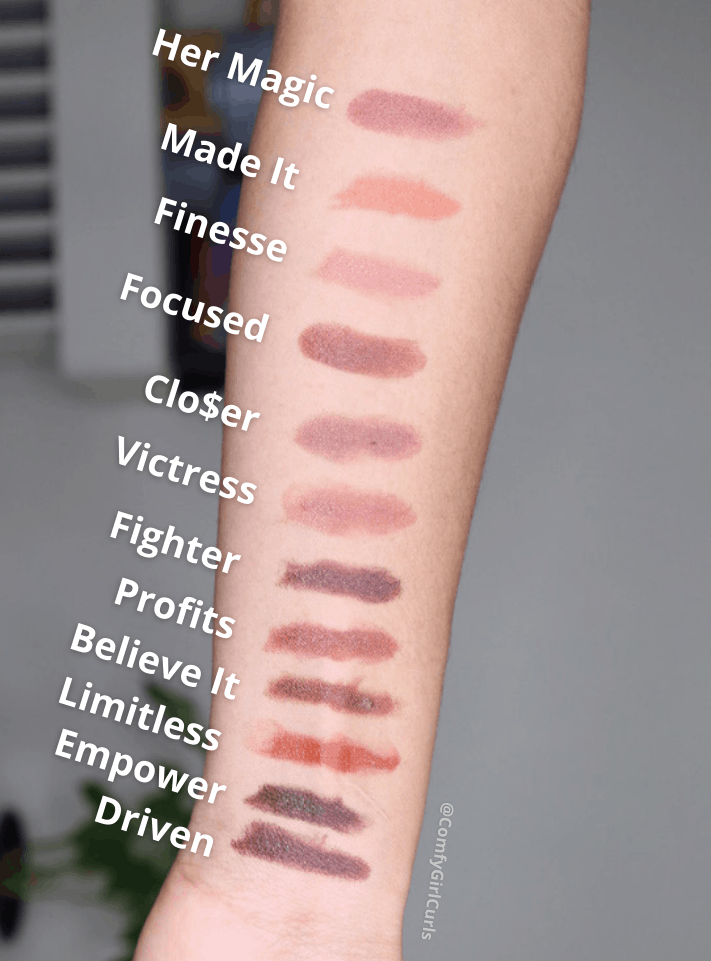 Propa Beauty Satin Nude Lipsticks Swatched on Brown Skin arm. Her Magic, Made It, Finesse, Focused, Clo$er, Victress, Fighter, Profits, Believe It, Limitless, Empower, Driven.