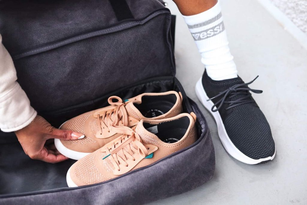 Carry-on bag essentials - Waterproof Vessi shoes are perfect to bring when travelling. Weekend sneakers and Everyday Sneakers.